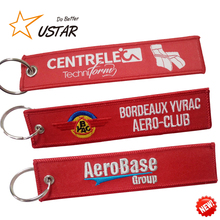Cheap custom jet fabric key tag/ embroidery keychain/embroidered keyring no MOQ