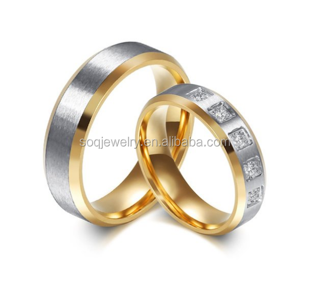 Simple Jewelry His & Hers Stainless Steel Valentine's Cheap Promise Rings for Couples Wedding Band