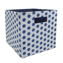 Nautical Honeycomb Foldable Fabric Blue Storage Containers for Offices Closets
