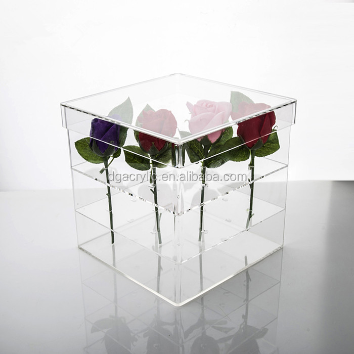 luxury plastic transparent clear wholesale acrylic flower box