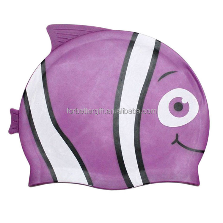 Fish Design Swimming Cap/Children Cartoon Swimming Cap/Good Quality Silicone Swim Cap