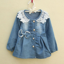 2016 kids denim frock girl dress denim one piece dress