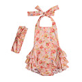 2017 cheap backless t pattern baby girl rompers floral rompers