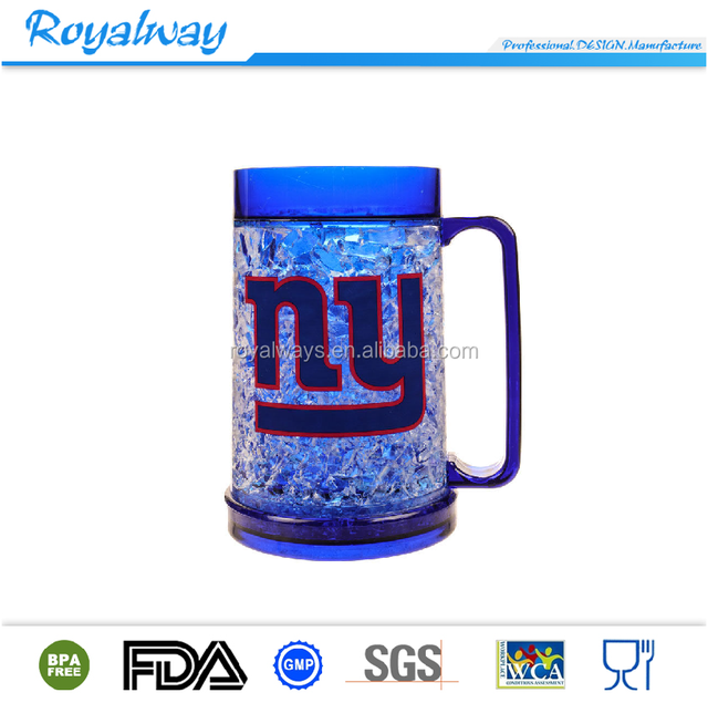 Wholesales NFL plastic double wall crystal Freezer Mug, freezable beer mug