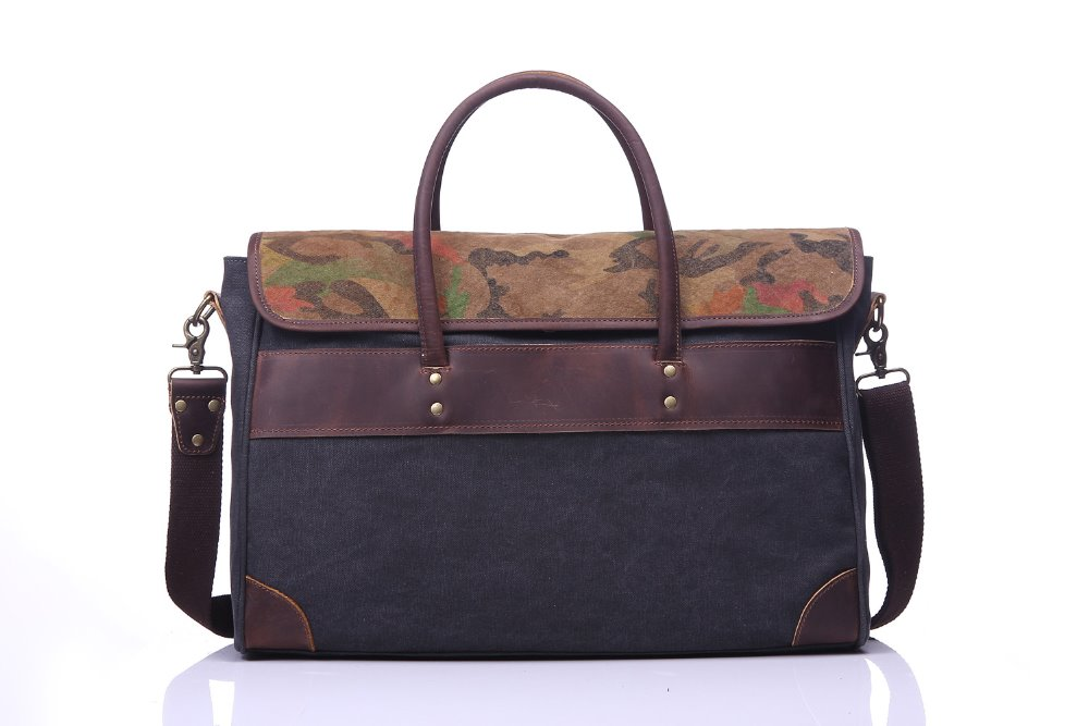 fashion canvas crazy horse big messenger bag with handle
