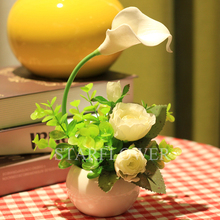 Wholesale Artifical Calla Lily Rose Flower arrangement Bonsai for Home decoration and Gift crafts