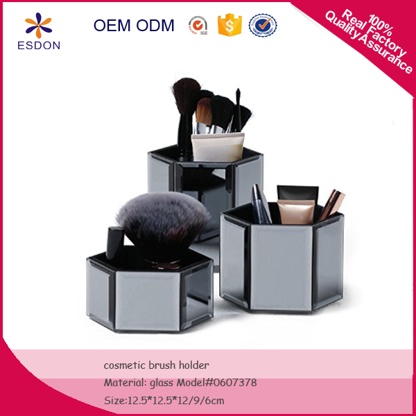 Mirrored Glass Hexagon Storage Pots for Makeup/ Cosmetics, Brushes, Jewelry & Accessories - Set of 3 with Glass Cleaning Cloth