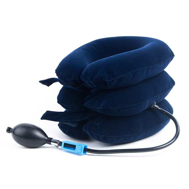 FDA CE full flannel inflatable air neck traction /Soft Air-pressure Neck Traction tube shape pillow/cervical traction device