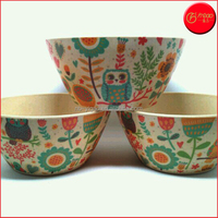 Kids favored ECO-friendly bamboo fiber melamine dinnerware with bowl plate spoon fork bamboo fiber plastic tableware