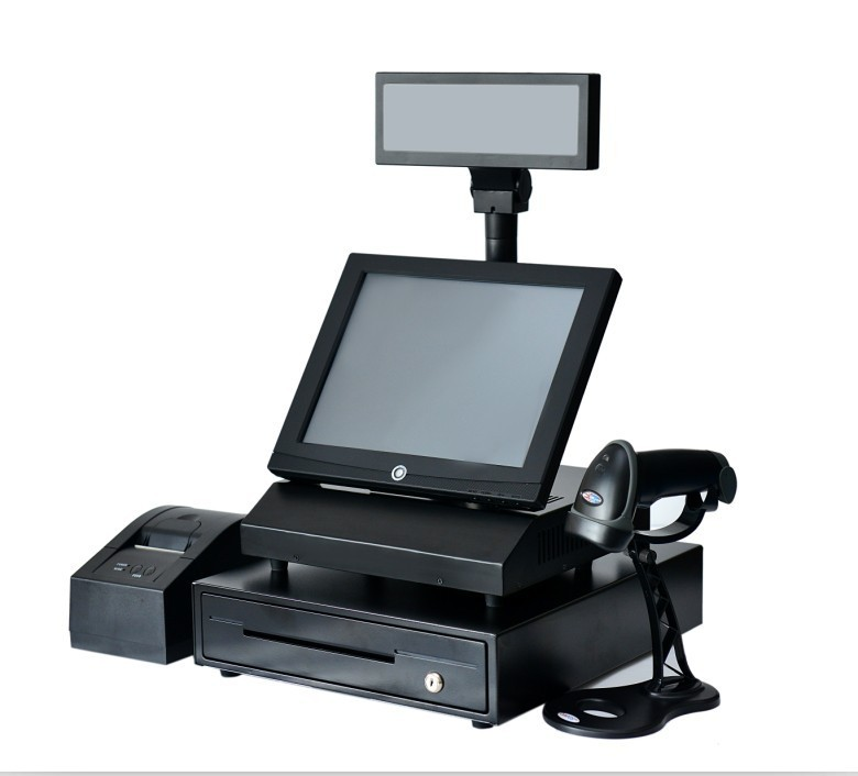 Cheap Touch screen pos system , with 58 mm thermal printer , auto-scan barcode scanner
