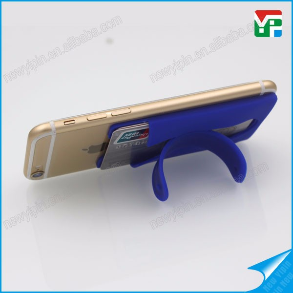 Custom print logo silicon pockets phone holder for mobile phone