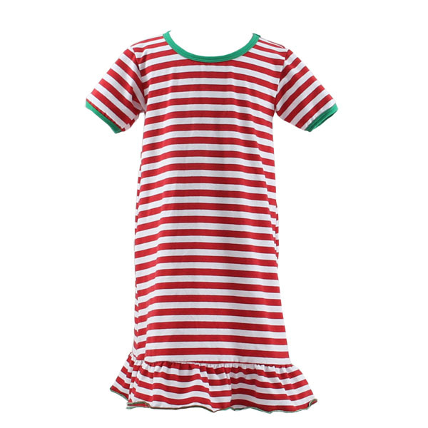Wholesale OEM 2015 newest Christmas style hot sale cotton fabric fashion children kids long/short sleeve baby strip nightgown