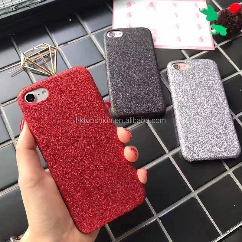 Hot for iphone 7 unlocked case mobile phone 6 7 plus leather cover case with glitter powder