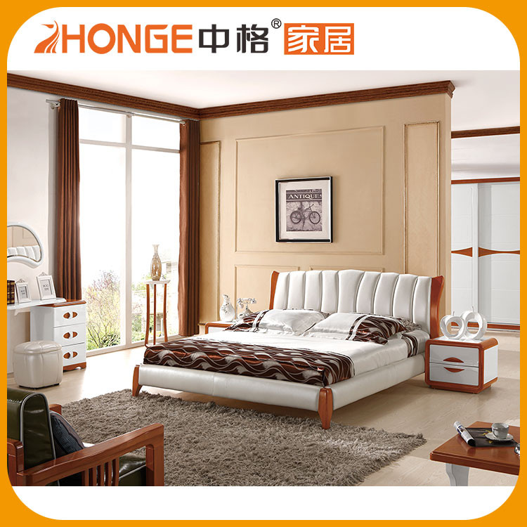 Home Furniture White King Size Double Bed Leather Beds