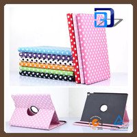 Fashionable Popular Dot View Pattern 360 Degree Rolating PU Leather Cover case For iPad pro tablet case factory price