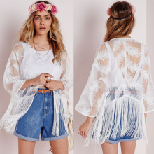 White sem-sheer fabric tassel fringing fashion women kimono