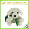 Lovely children toys cute mini plush dog toy for home decoration custom plush dog with a green scarf