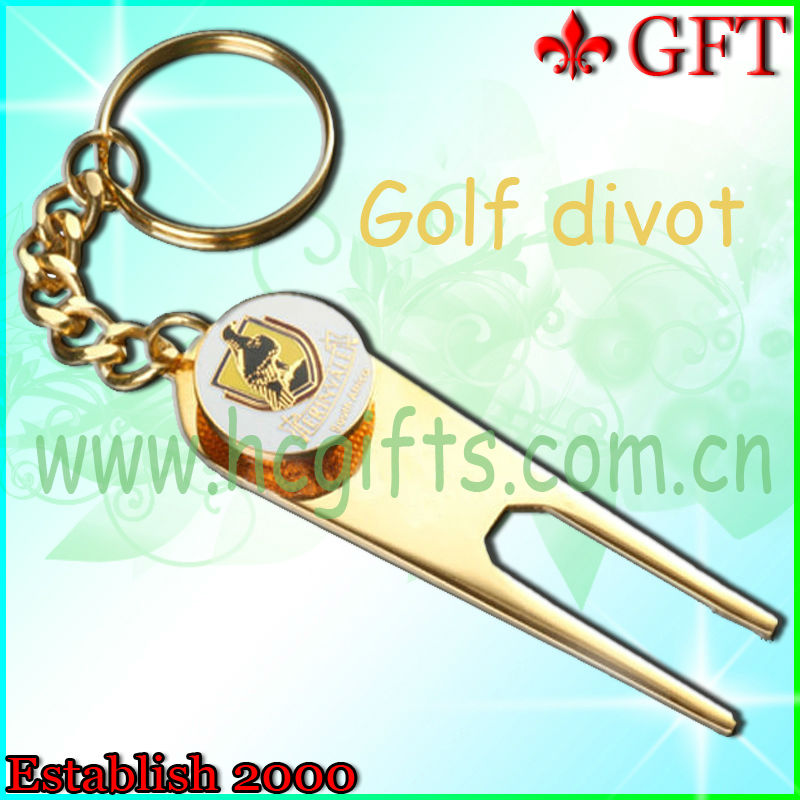 2013 New design and hot sale!!Customize gold golf divot repair tool,golf divot tool with keyring
