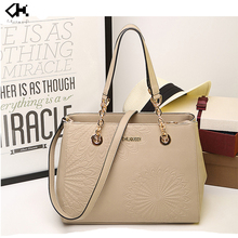 PU leather with flower pattern lady handbag brand