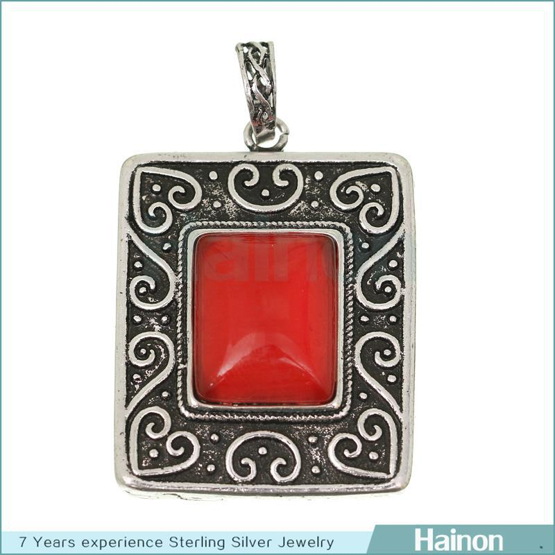 hainon hot sell indian <strong>fashionable</strong> anti silver square with cat's eye pendant necklace
