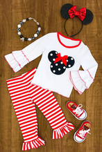 New design fall winter soft cotton red Mickey stripe long sleeve baby boutique outfit