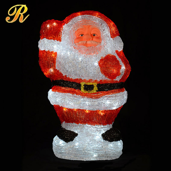 Acrylic lighted santa claus toys for christmas decoration