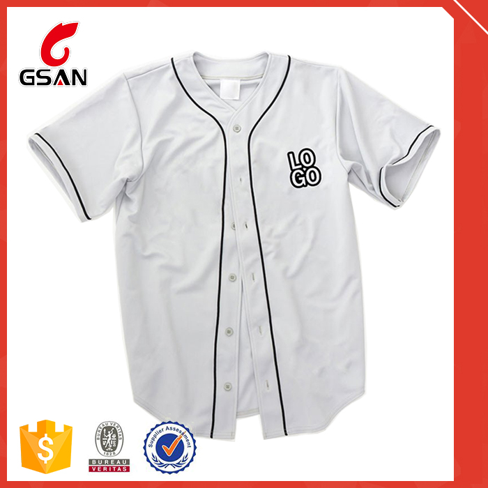 Polyester Dri Fit White Men Blank Custom Baseball Jersey
