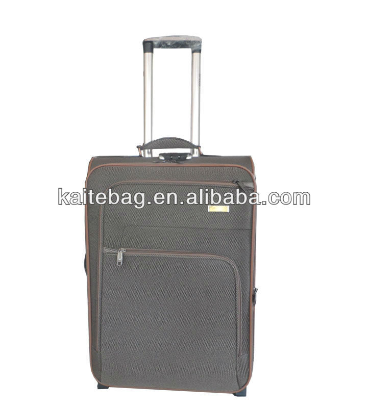 600D twill nylon fabric light grey color baigou factory two wheels button trolley suitcase luggage