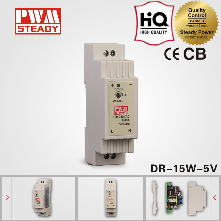 Industrial DIN Rail 5v 2.4a dc regulated power supply DR-15-5 15w led cctv switch mode power supply
