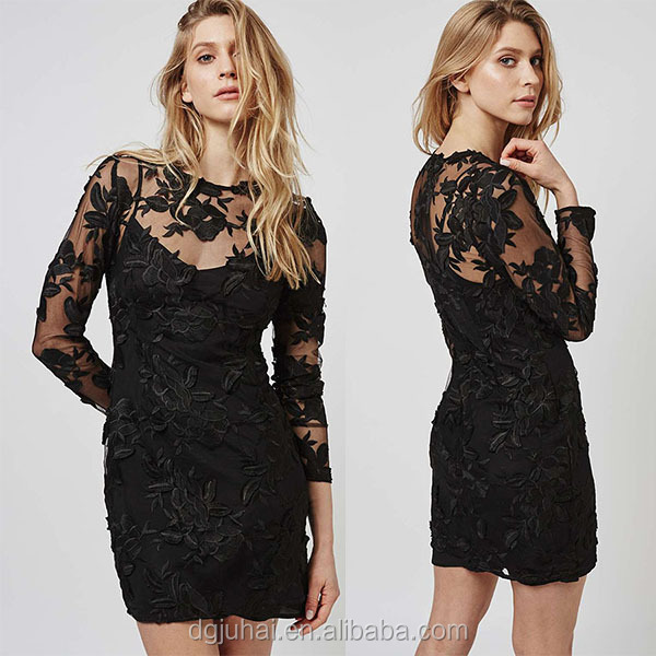 JHC1606 Long Sleeve Applique Evening Black Mini Dress Tube Sex Women Party Dress