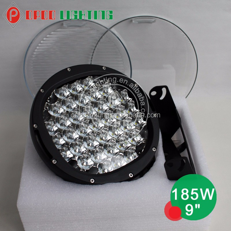 Hot 4x4 jeep wrangler accessories round 9'' 185w led car spotlights with flood covers