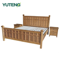 Hotel furniture bed 1.8M rubber wood double bed modern and fashion
