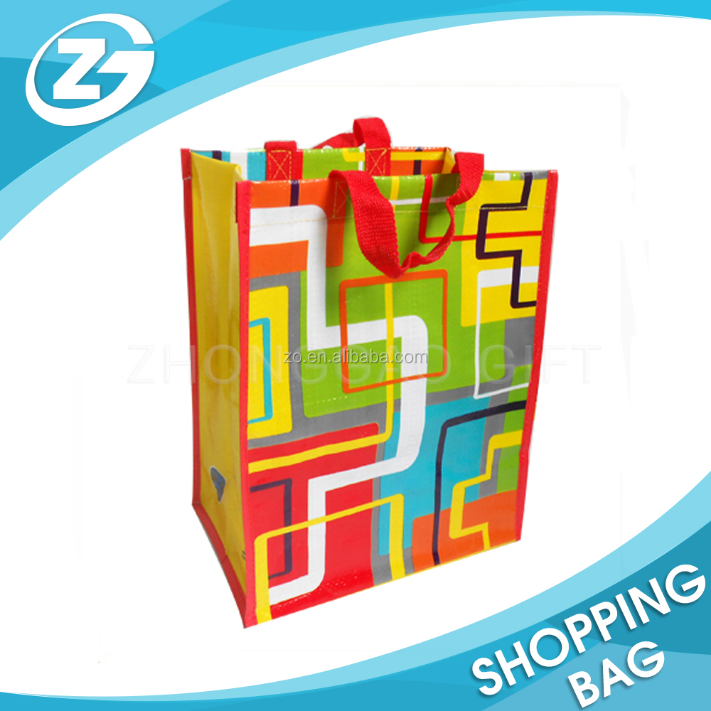 Custom Design Eco Cheap Nylon Webbing Colorful Shiny Printed PP Woven Shopper Tote Bag