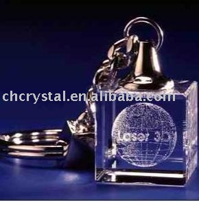 3d laser engraved cube crystal glass key chain ,keyring laser