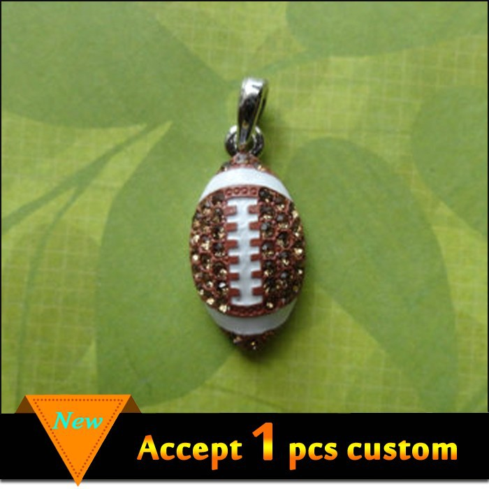 Silver jewelry white and brown enamel rhinestone soccer wholesale crystal football charms
