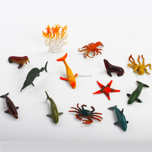 Ocean Sea Animal, Assorted Mini Vinyl Plastic Animal Toy Set, Realistic Sea Life Figures Child Educational Bath Toys