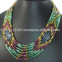 Natural Ruby Emerald Sapphire Beads Strand Necklace