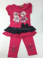 2016 Latest Design Real Picture Summer Girls Clothing Sets Printing Ruffle Shirt Pant Kids Suits