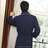 nevy blue shawl collar modal bathrobe men long style dressing gown for men at night