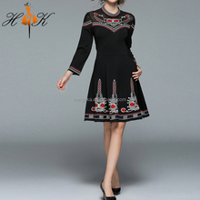 HTK Lady Long Sleeve Patchwork Mesh A Line Mini Embroidered Retro Dress