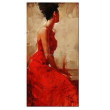 Large Size Canvas Wall Art Prints Red Dress Sexy Lady Oil Painting Feeling Picture Canvas Framed Easy to Hang