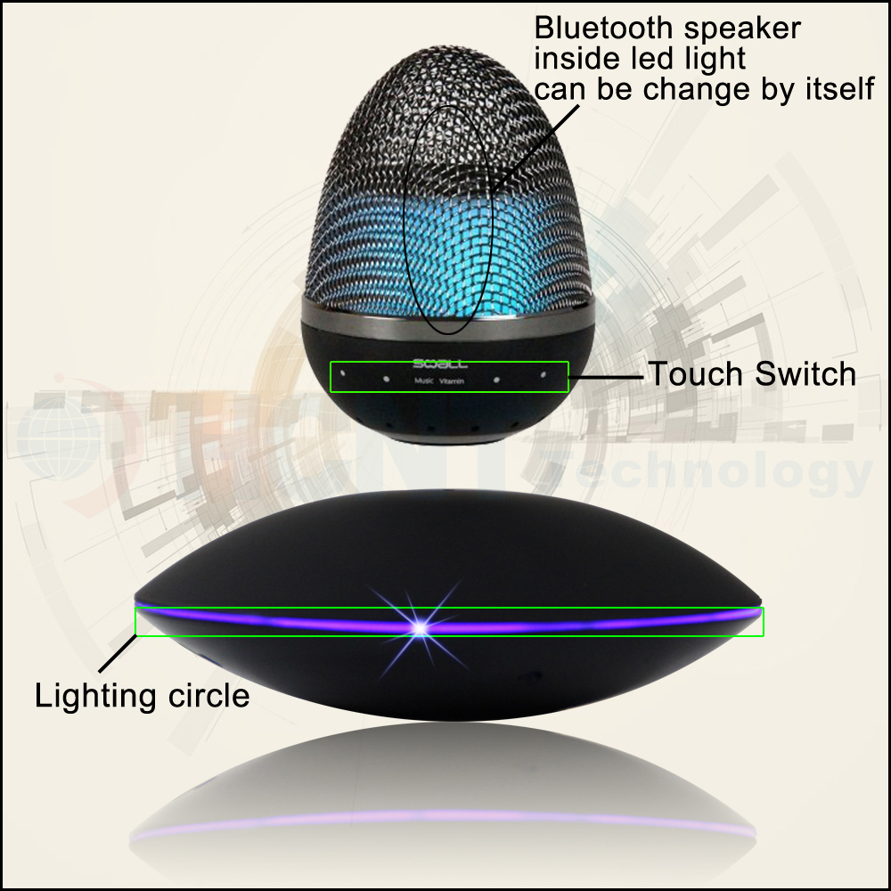 bluetooth speaker 2017 levitating floating power bank bluetooth 4.1 speaker with led