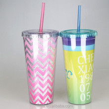 16oz Shenzhen manufactured AS double wall plastic cup with straw and lid