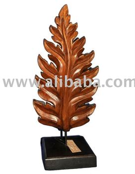 Wooden Fern Leaf Decoration Wood Carving Thailand High Quality Handmade Antique Woodcraft