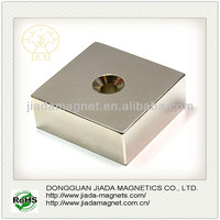 Rare Earth N50 Strong Neodymium Countersunk Block Magnets with screw hole