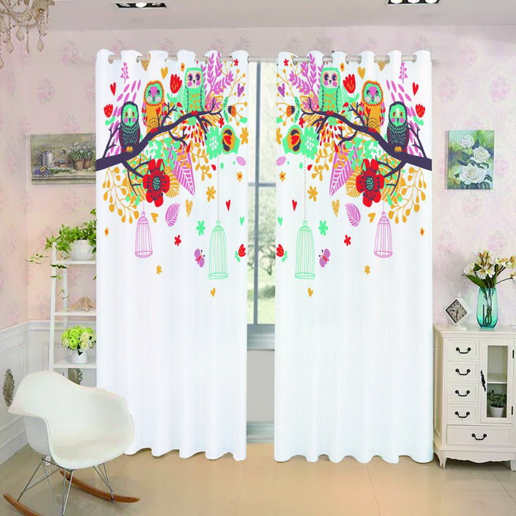 High quality 3d digital printed window curtain for kids room polyester fabric blackout curtain