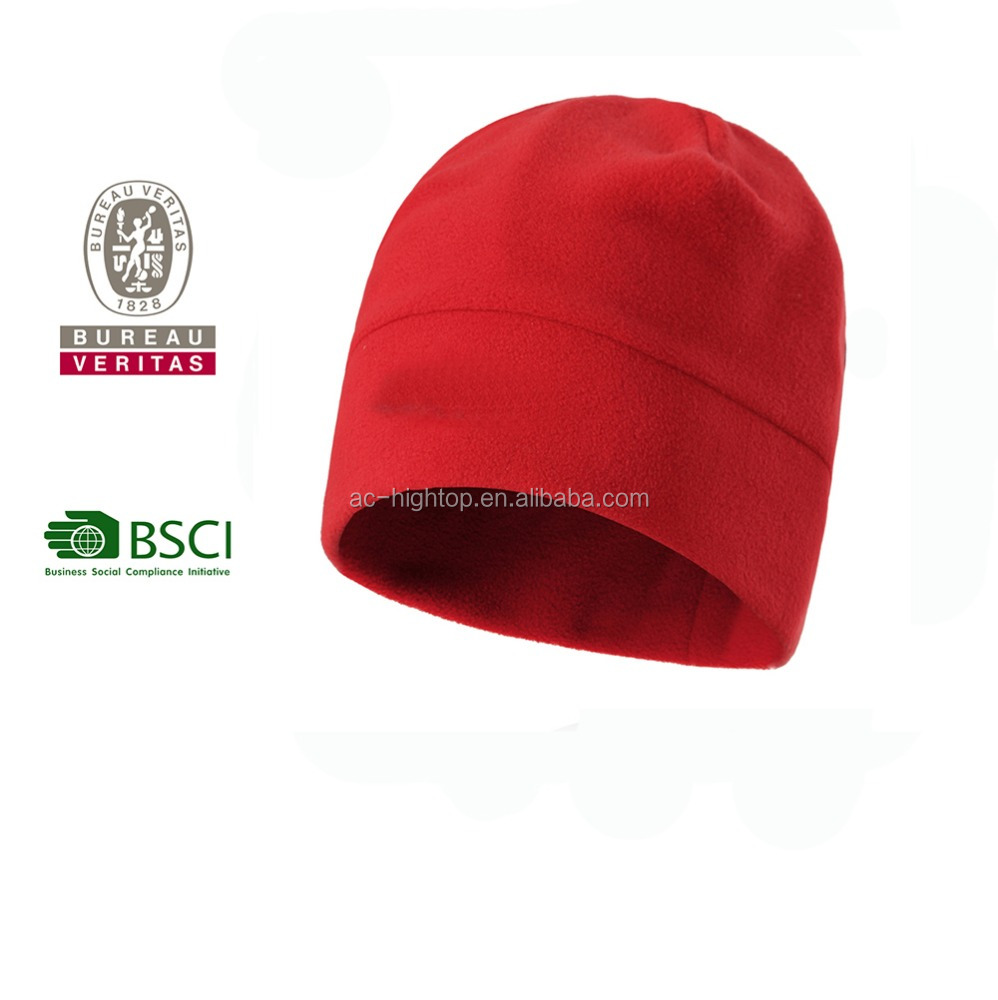 red wind-proof fleece beanie/skull cap