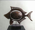 Modern home decorative antique metal fish sculpture