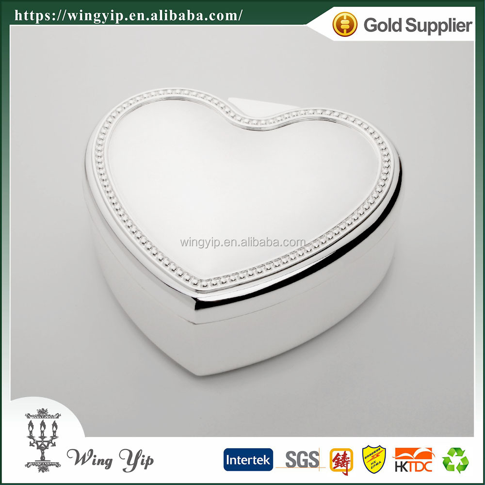 Wholesales Custom made Heart Shape Beaded Silver Plated Metal Trinket box for decoration