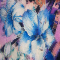 textile polyester material digital printed 3d flower organza fabric